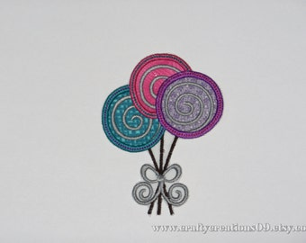 "Embroidered Iron On Applique  ""Lollipops"""