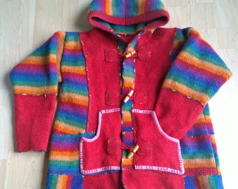 Upcycled Clothing/Sweater Jacket/Festival Clothing/Funky Clothing/Boho Clothing/Rainbow/Hippie Style/Knitwear/Wool/For Women/OOAK