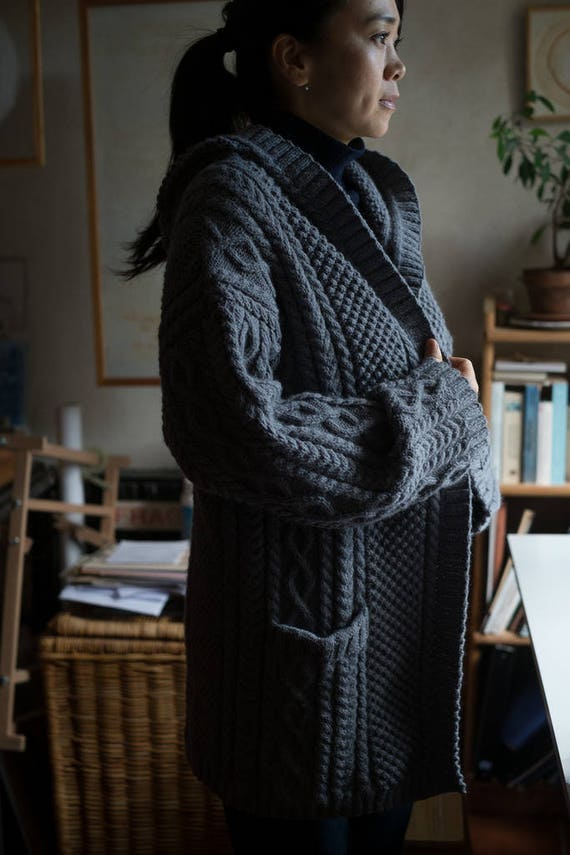 long aran jacket - celtic jacket - hooded jacket  - irish cable jacket - handknit sweater - women's handknit jacket - handknit cable texture