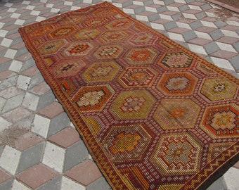 "Free ShippingTurkish Kilim rug, area rug, rug, vintage rug, bohemian rug, Turkish rug, bright rug, Turkish, rug, colorful rug,59.0"" X 120.4"""