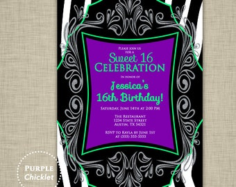 Sweet 16 Invitation Any Age 16th Birthday Invite Printable Zebra Birthday Invite Purple Lime Green Silver JPEG file (122)