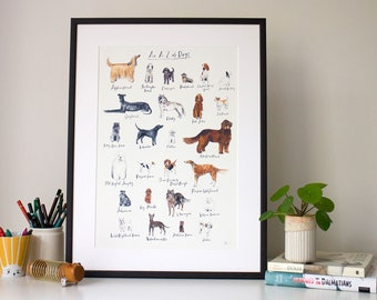 Custom A-Z of Dogs (unframed print)