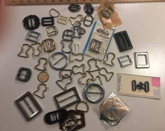 50 BUCKLES True Vintage Assortment Steampunk Costuming