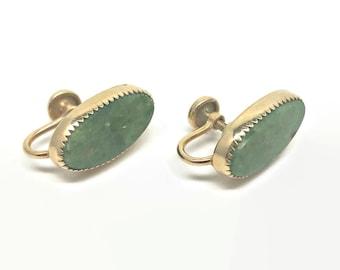 Vintage W.E. Richards Green Stone Gold Filled Screw Back Earrings