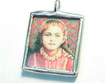 Soldered Charm with Two Images -Saint Therese - Confirmation Gift for Her - Catholic Jewelry