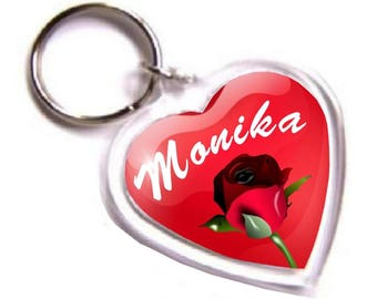 Personalised Name Keyring - Acrylic Heart Shape Keychain with your Name, Glow in the Dark.