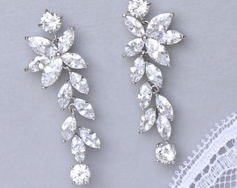 Crystal Chandelier Earrings, Leafy Drop Earrings, Crystal Bridal Earrings, Crystal Bridal Jewelry, MAXIME