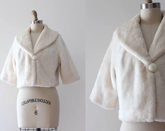 vintage 1960s jacket // 60s creamy faux fur cropped coat