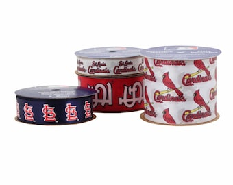 Offray 4-Pack St. Louis Cardinals Ribbon, White/Red/Blue