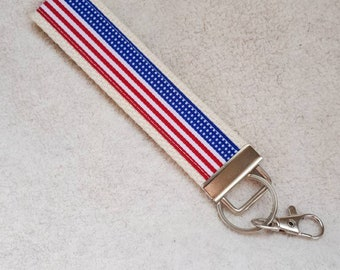 USA Key Chain- Patriotic Key Fob- Usa Keychain Holder- Womens Key Ring- America Wristlet Key Fob- Womens Gift for Her Under 10- 4th of July
