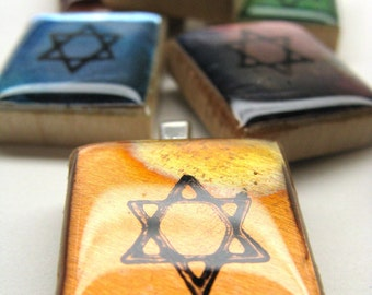 Star of David - Your choice of colors - metallic Scrabble tile pendant