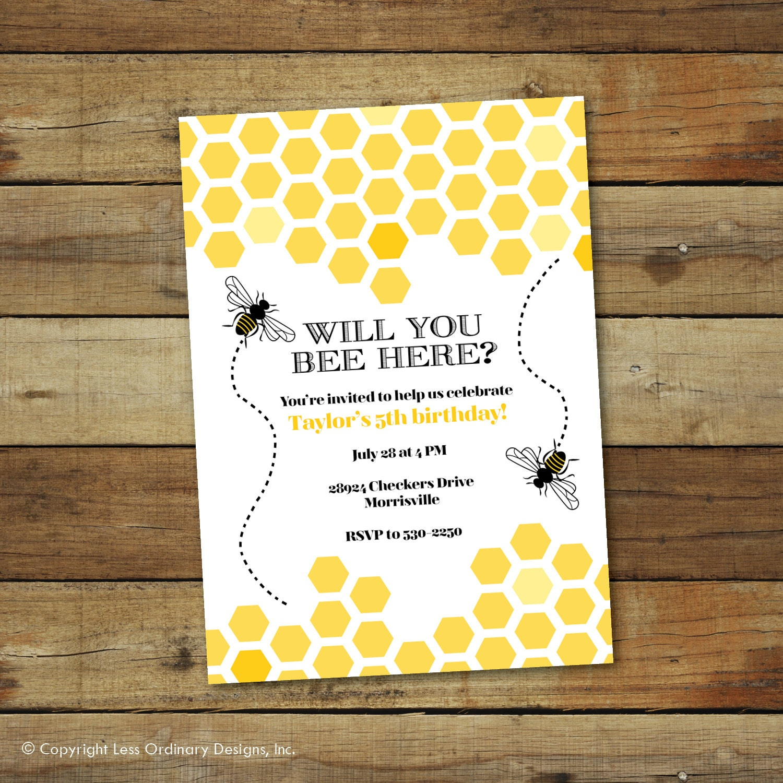 Bumble Bee Birthday Party Invitation Hive