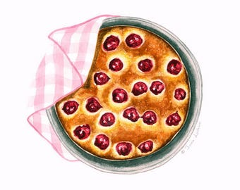 Cherry Pie Illustration | Food illustration | Food art | Kitchen art décor | Watercolor art | Bakery art | Giclée print | Red, purple, pink