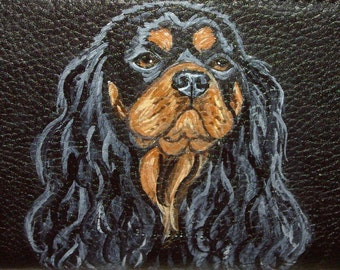 King Charles Cavalier Spaniel Dog Painted Womens Leather Wallet
