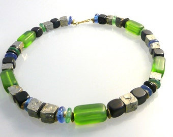 "Necklace gemstone chain pyrite ebony glass beads extravagant gift ""green and Something Blue"""