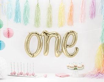 "30"" Giant ONE Balloon, Script Balloon, White Gold Balloon, Champagne Balloon, First Birthday Decor, Baby Photo Prop, Letter Balloon"