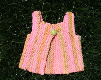 electric tulip handspun handknit baby vest