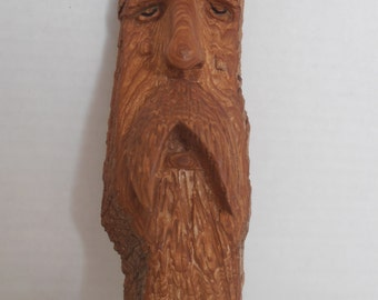 Handcarved Woodspirit. Cottonwood Bark Carving.  Wallhanging. House Warming Anniversary Gift