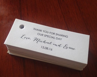 Thank you wedding favour tags double-sided