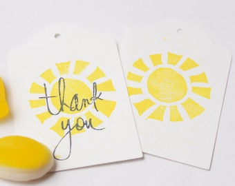 You Are My SUNSHINE favour tags, sunshine party, my little sunshine gift tags, thank you tags, thank you favour bag tags X 10