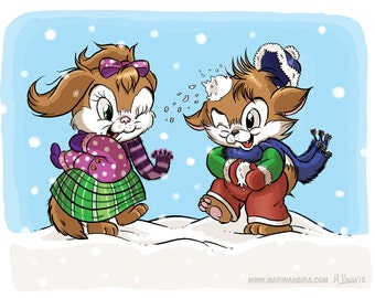 Allie and Percy's Snowball Fight (DIGI STAMP)