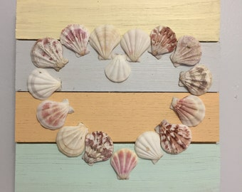 Distressed Wood Plaque with Seashell Heart