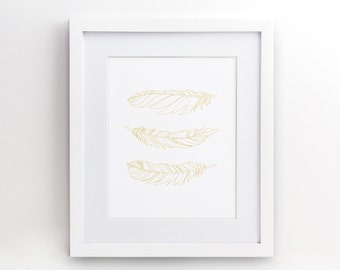 "Feather Feathers - Wall Art Poster Print - Gold Mustard Yellow Decor -  4x6"" 5x7"" 8x10"" 8.5x11"" 11x17"" 16x20"" - 0035"
