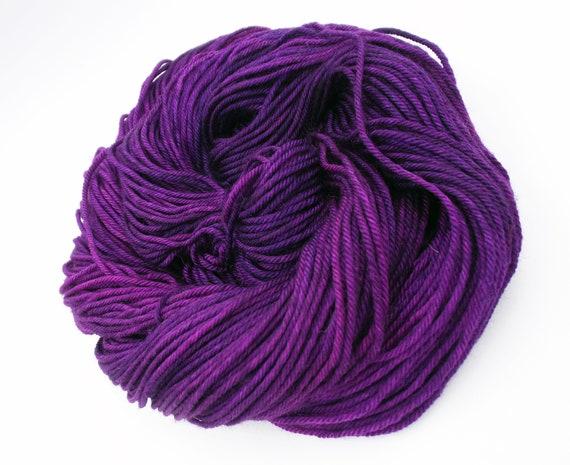 Hand Dyed Yarn 100% Superwash Merino Yarn Worsted Weight Yarn - 220 Yards - Tonal Semi-Solid Purple Yarn - Radioactive Violets