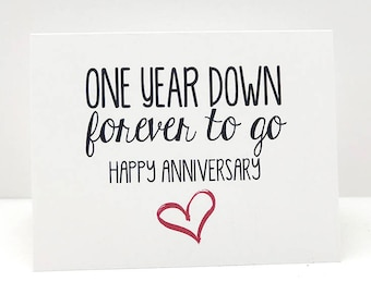 One Year Down Forever To Go // Anniversary // Love // Cupid // Valentines Day Card // Anniversary Cards // Heart // Red // I Love You Cards