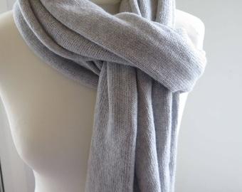 cashmere shawl, grey cashmere scarf, sciarpa cachemire, mens cashmere scarf, Wool Scarf, cashmere scarf knit, knit snood, cashmere throw
