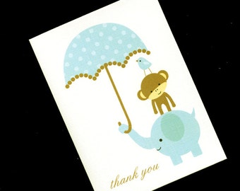 20 Baby Shower Thank You Cards - Baby Cards - Baby Thank You Cards - Baby Boy Thank You Cards - Jungle Baby Shower - Blue Elephant Monkey