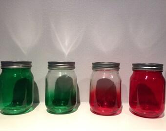 Christmas Mason Jars - Holiday Mason Jars - Winter Mason Jars - Mason Jar Decor - Green/Red/Ombre