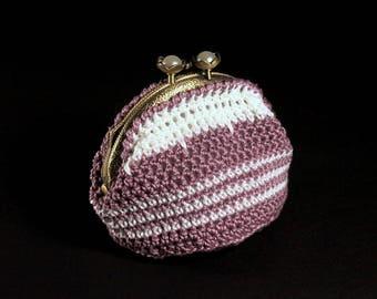 Crochet Coin Purse, Kiss Closure, Metal Goldtone Frame, Dark Lilac and White, Faux Pearl, Coin Pouch, Handmade