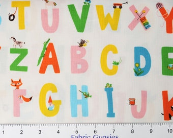"Windham Fabrics ""KINDER"" by Heather Ross ~ ALPHABET ~ White ~ 43481-3~ By The Half Yard ~"