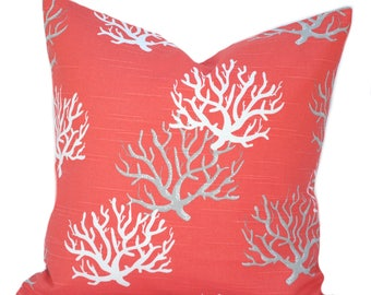 One coral nautical pillow covers, cushion, decorative throw pillow, decorative pillow, accent pillow, pillow case