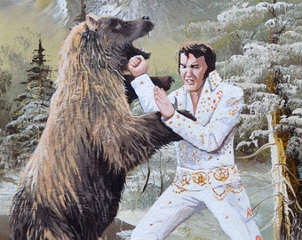 Elvis Punching a Bear 12x16 giclée canvas print of Elvis Presley Punching a Grizzly Bear on upcycled thrift motel painting