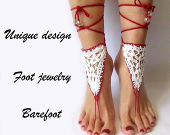 Barefoot Footless Red White Sandals Beach Wedding Sandals Bridal Barefoot Sandals Red Foot Jewelry Barefoot Wedding barefoot Beach sandals