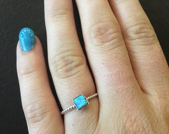 Blue Opal Square Stacking Ring
