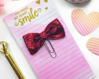 Red Glitter Paperclip / Planner Paper Clip / Red Bow Paper Clip