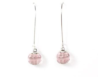 Light purple faceted vintage Czech glass disco ball dangle wire earrings