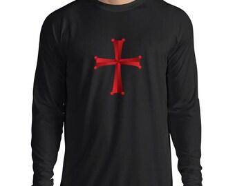 Mens Christian Knight Order Templar Cross Long Sleeve Crew Neck T Shirt - N4322L