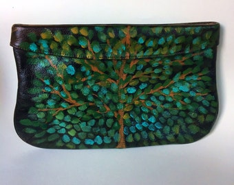 Green Tree Leaf Clutch / Hand Painted Purse