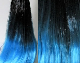 SHIPWRECK Black to Blue  Ombre Nylon Doll Hair for Custom OOAK/Rerooting