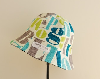 Boys summer hat, abc letter alphabet print baby boy sun hat, baby boy shower gift, baby shower gift for boy - made to order