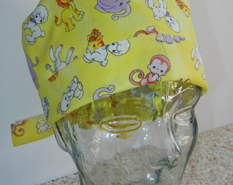 Tie Back Surgical Scrub Hat with Baby Nursery Animals Yellow