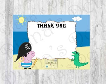 Pirate George Pig Thank You Card/George Pig Cards/George Pig Party/George Pig Birthday/Pirate George Card/Pirate George Theme/Pirate George