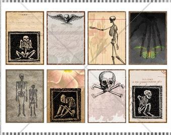 DIGITAL Collage Sheet - Creepy Scary Halloween Printable Cards - Halloween ATC Cards - 8 Designs 2.5x3.5 Cards - Vintage Skeletons, Skulls