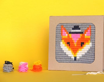 Fox needlepint kit for kids - gift kit, needlepoint kits for beginners with a cardboard frame, DIY kids kit - birthday gift craft kit