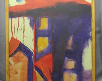Old vintage original expressionist abstract oil painting modern art