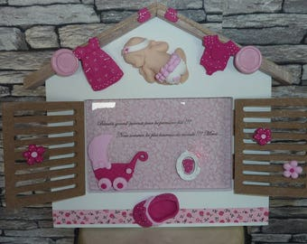 To order!    Frame with polymer clay baby cottage. Girl model.